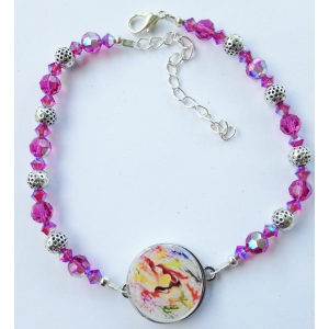Fuchsia & Golf Ball Marker Ankle Bracelet