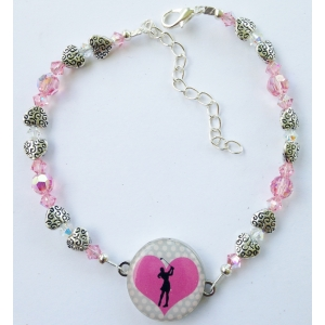 Pink Swarovski Crystal with Textured Pewter Hearts