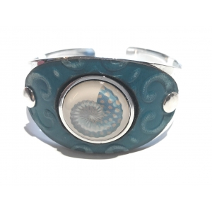 Turquoise Leather Cuff with White Accent