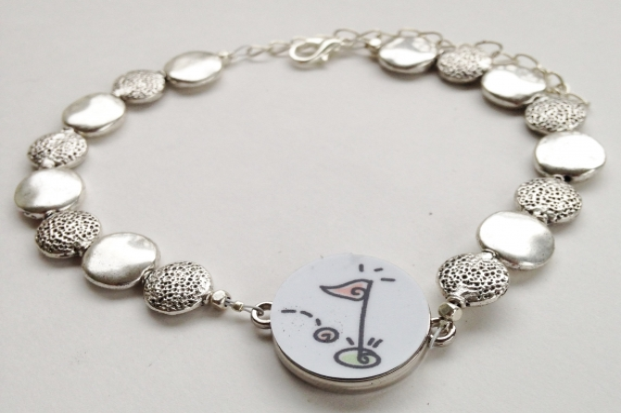 Flat Pewter Golf & Silver Beaded Ball Marker Ankle Bracelet