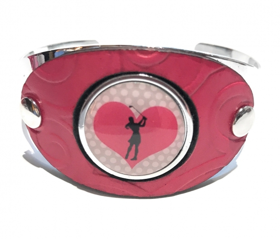 Pink Leather Ball Marker Cuff