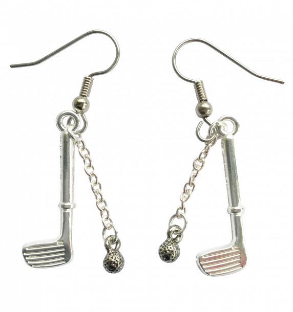 Pewter Golf Club & Golf Ball Earrings