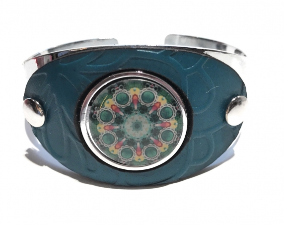 Turquoise Leather Ball Marker Cuff