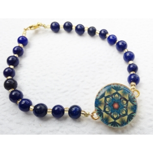 One Putt Designs Lapis Lazuli beads with golf accents Ball Marker Ankle Braceele