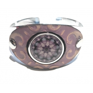 Lavender Leather Cuff with White Accent
